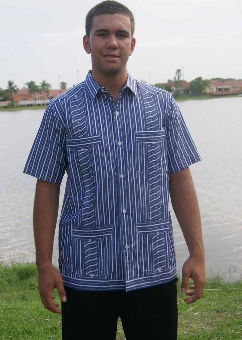 Striped Pima Cotton Guayabera. Blue (2347) - Luxurious 100 ...