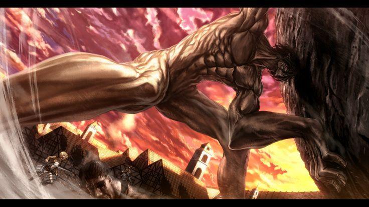 Shingeki No Kyojin Armin Arlert Black Hair Blonde Hair Boots Clouds Green Eyes Mikasa Ackerman Rogue Attack On Titan Eren Attack On Titan Attack On Titan Anime