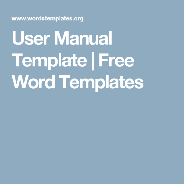User Manual Template | Free Word Templates | Files | Pinterest ...