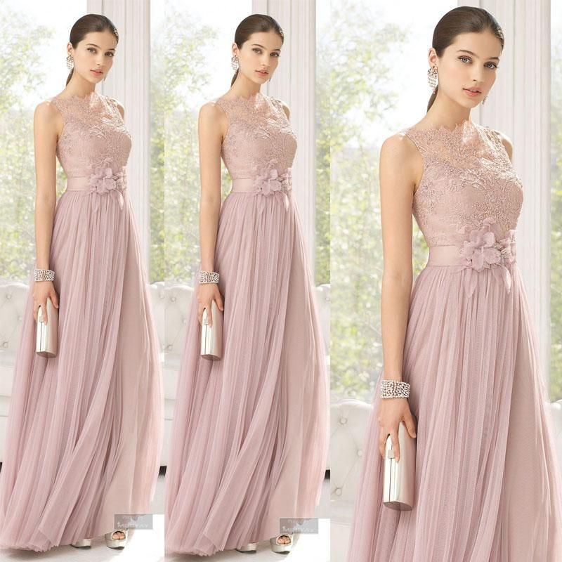 Cheap Bridesmaid Dresses Blush Color Tulle Lace Hand Made