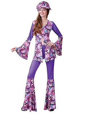 Top Outfit 60s-70s Fancy Dress Hippie Adult Ladies Costume 6-28 Hippy Flares