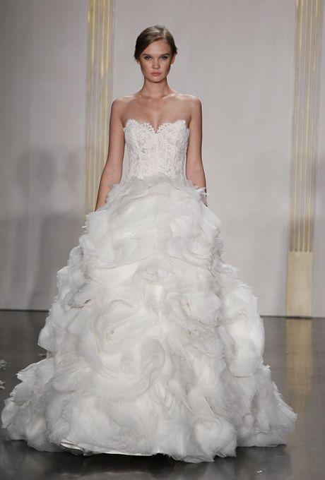 Suzanne neville fall 2014 dazzle crepe sheath wedding for Lazaro lace wedding dress