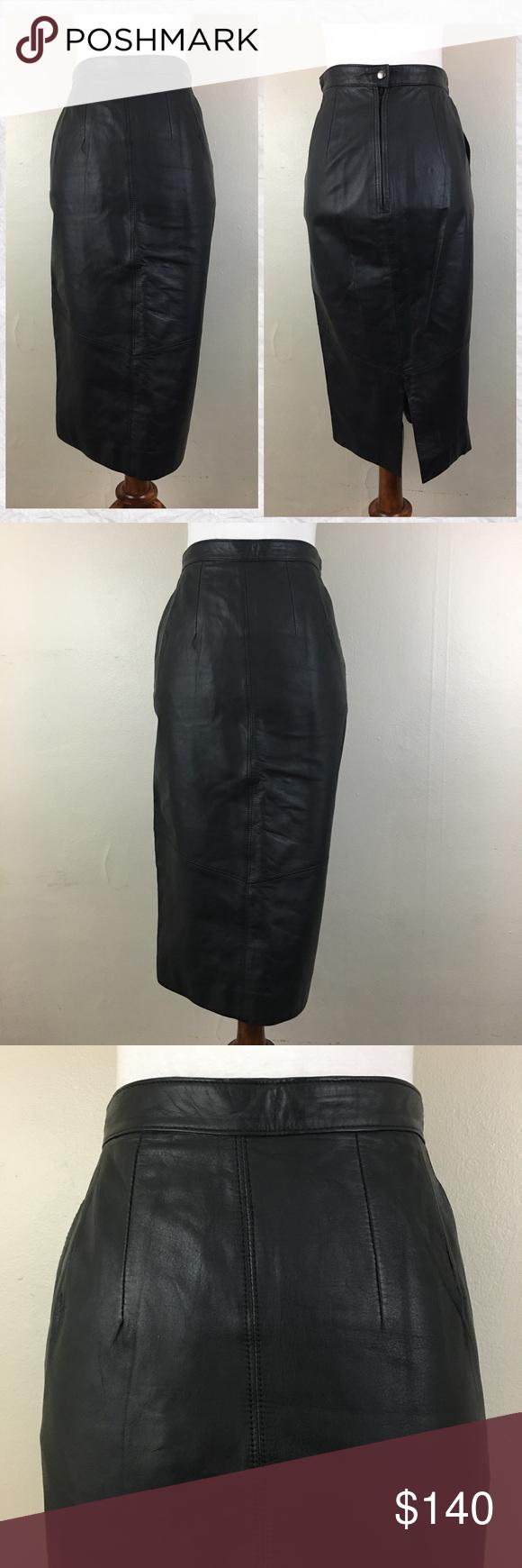 Us vintage pelle cuir leather midi pencil skirt pinterest midi