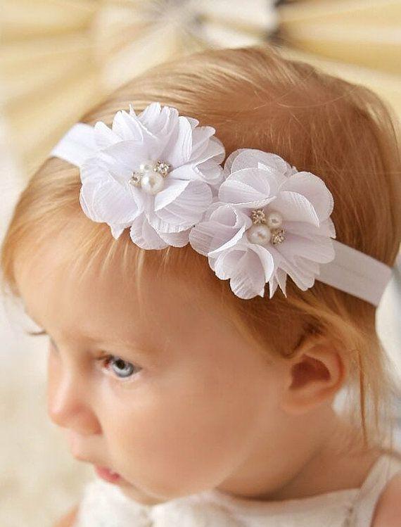 Diadema blanca diadema de bautizo bautizo diadema beb nia diadema
