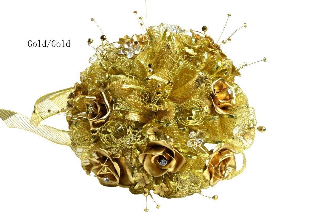 Artificial flowerswedding gold tone bouquet2 pieces set