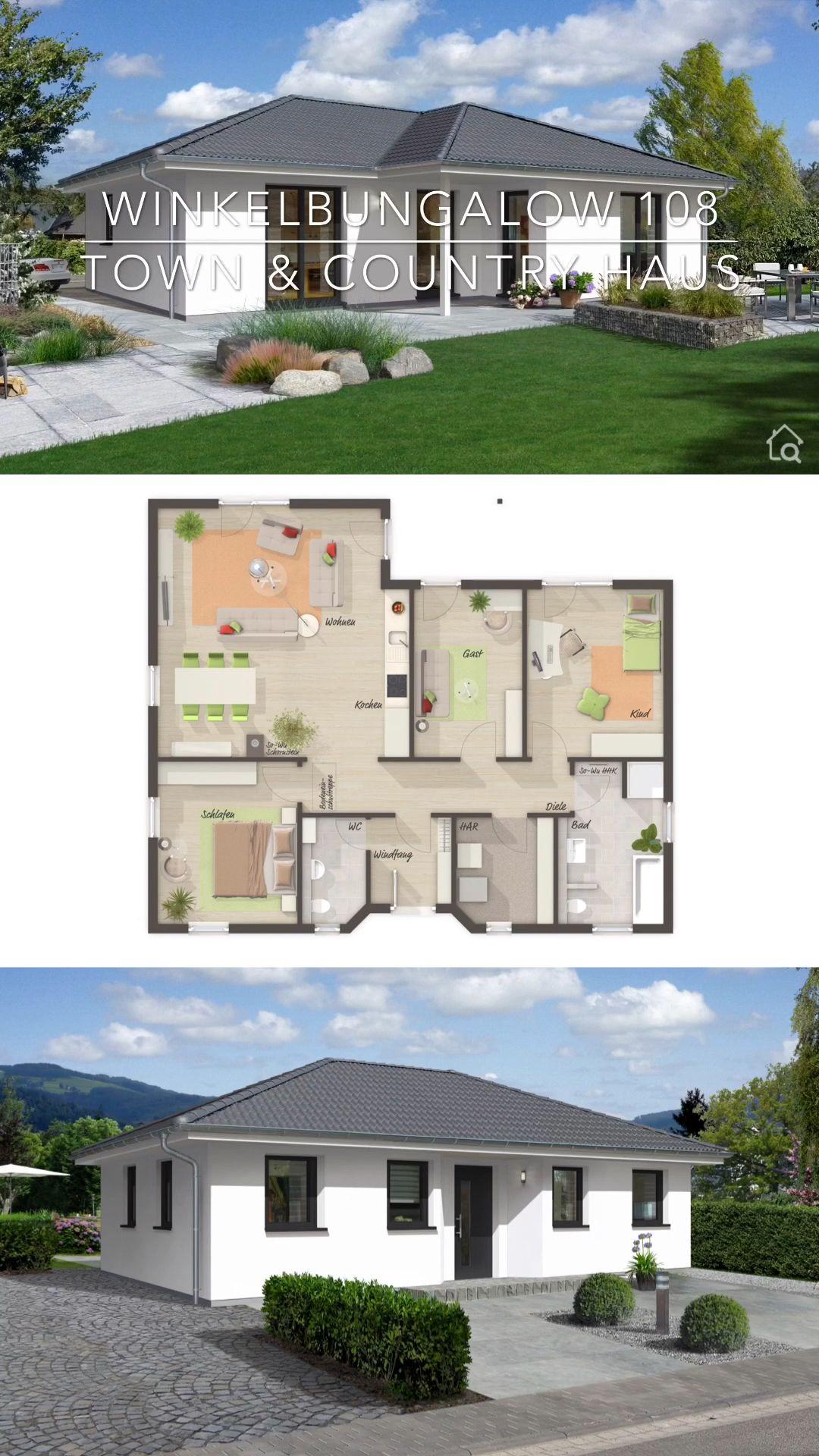 Photo of Massivhaus Bungalow weiß modern mit Walmdach, Winkelbungalow Grundriss mit Haus Fassade