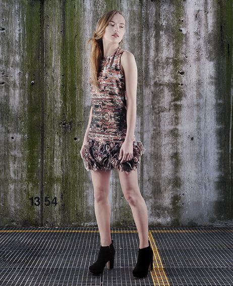 Part of the collection titled CONSTRUCTION TECHNIQUES digitally printed dress (bricks)