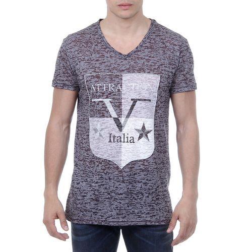 V 1969 Italia Mens T-shirt Short Sleeves V-Neck Black ALEXANDER