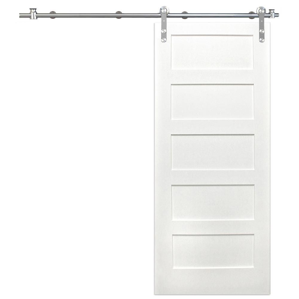 Pacific Entries 36 In X 80 In Shaker 5 Panel Primed Pine Interior Sliding Barn Door With Round Stainless Steel Hardware Kit P2250 3680 20 Interior Sliding Barn Doors Sliding Barn Door Hardware Barn Door Hardware