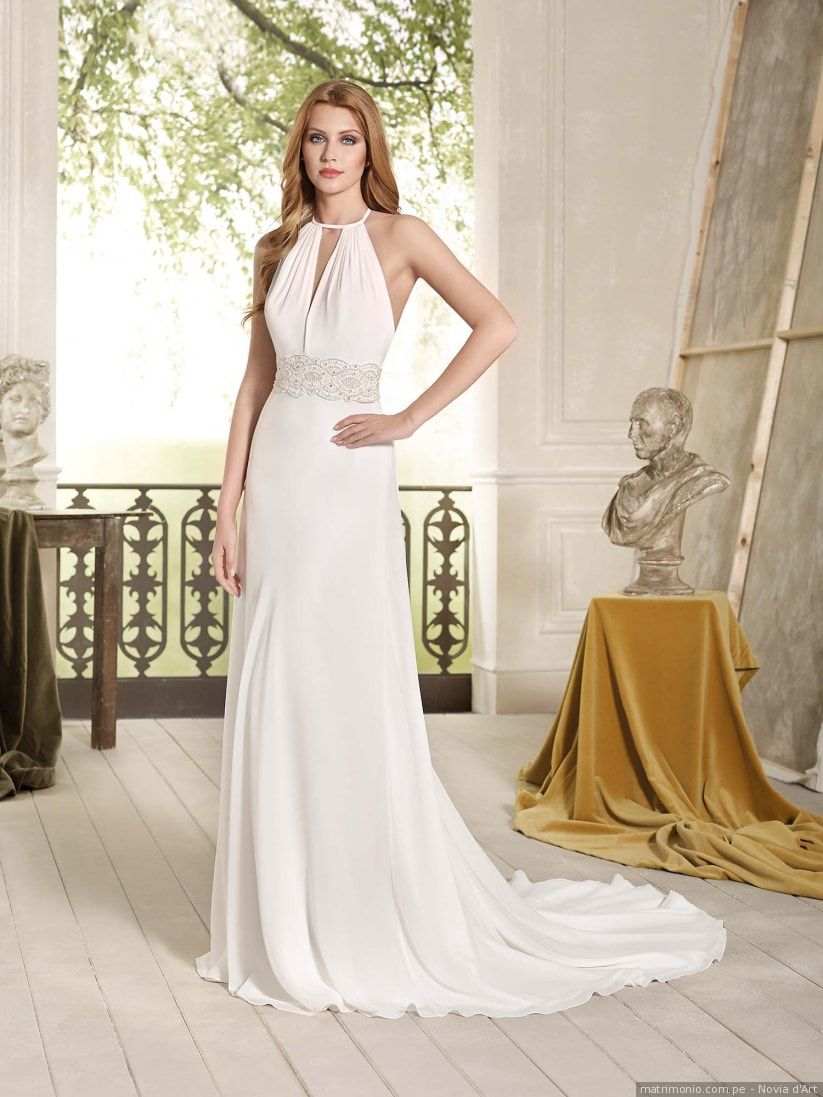 Vestido de novia con escote halter