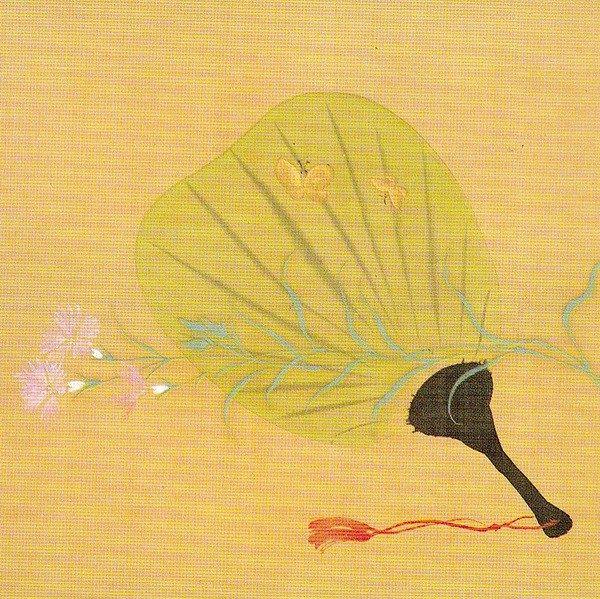 Title:撫子に団扇図 Fringed pink and fan Artist:酒井抱一 Sakai Hoitsu