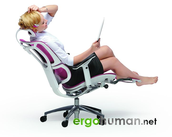 Mirus Office Chair With Pink Mesh White Frame And A Leg RestI - Ergonomic office chair uk