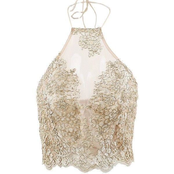 Simplee Apparel Women's Halter Neck Tank Crop Top Sleeveless Lace Vest... ($18) ❤ liked on Polyvore featuring tops, lace camis, lace camisole, lace crop top, bustier crop tops and lace cami top