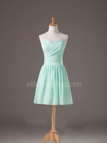 light green short pleating cheap bridesmaid dress | Cheap prom dresses Sale