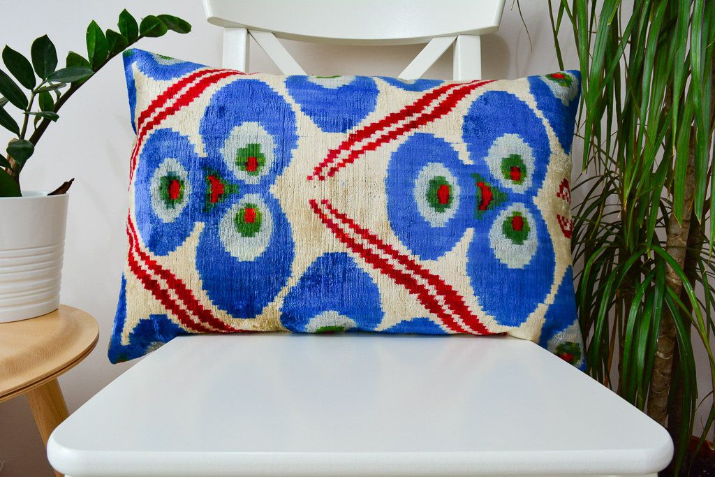 Blue ikat pillow cover, designer pillow, silk handwoven ikat pillow, ikat pillow for couch, pillow sham, ethnic pillow, 16x24 pillow cover