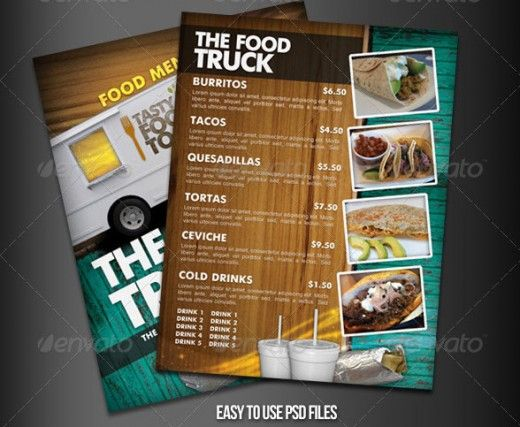 Food truck menu template Vector Free Download