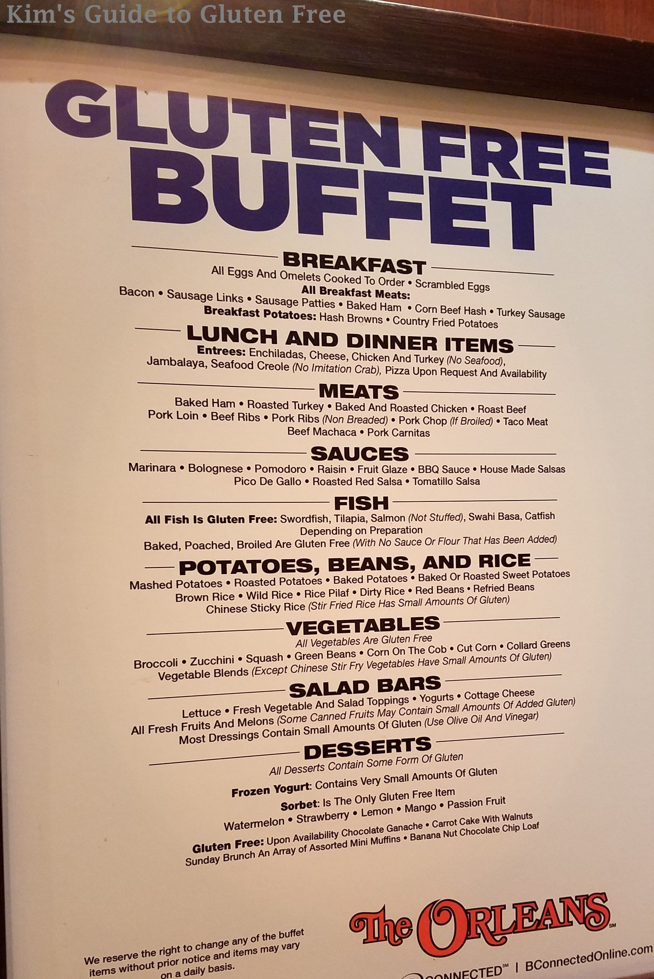 To Las Vegas We Decided Go Some Diffe S And Stopped At The Orleans It Was Meal Time I Wanted Checkout What Gluten Free