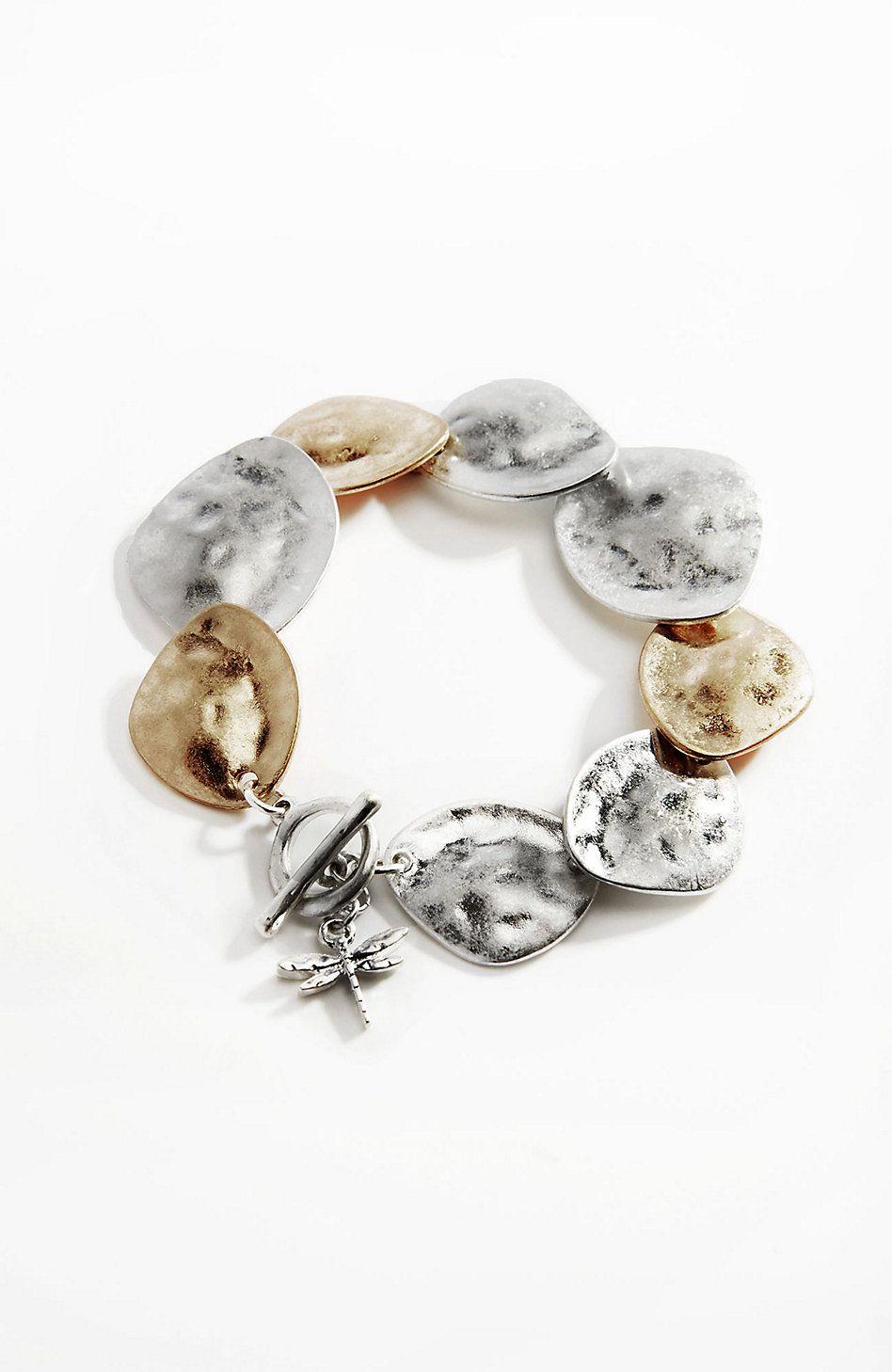 hammered mixed-metal bracelet | J.Jill