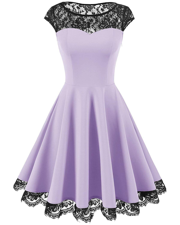 Homrain Womens Vintage 1950s Floral Lace Scoop Neck Cap Sleeve Cocktail Party Dress
