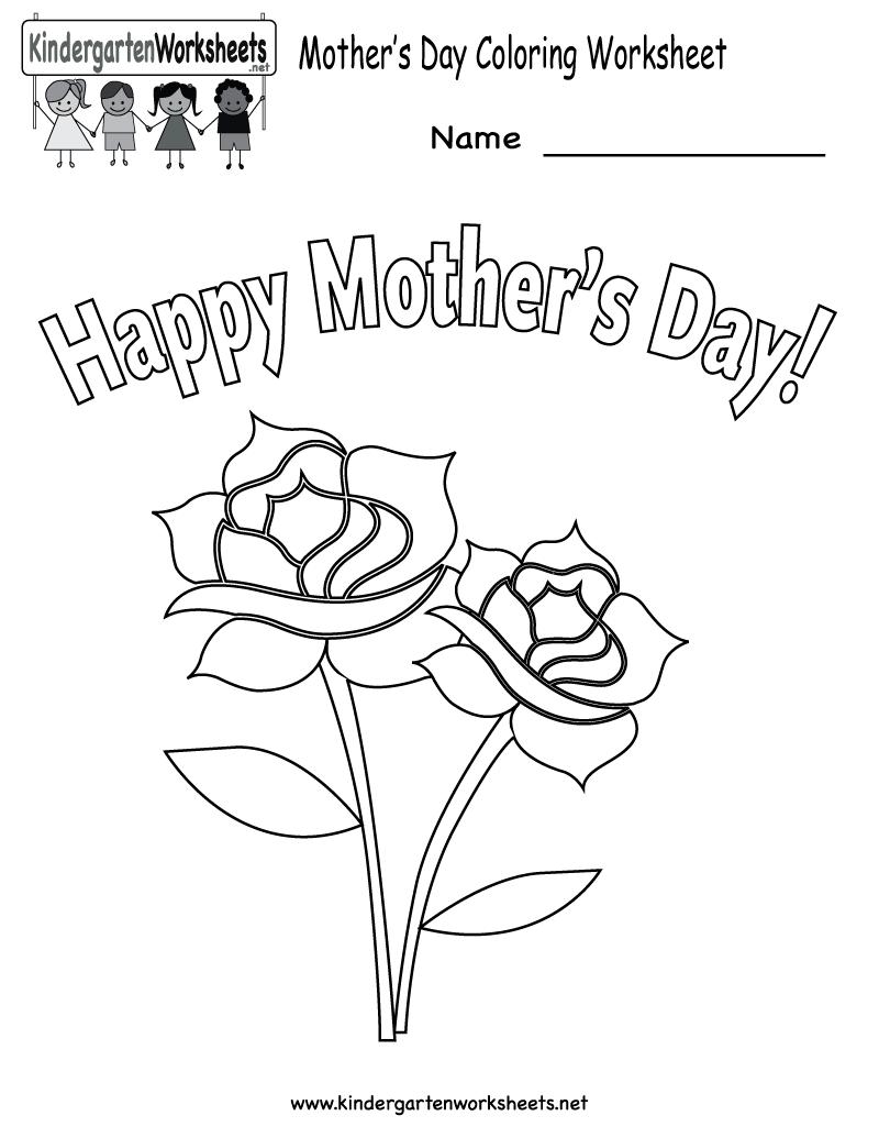 Kindergarten Mother's Day Coloring Worksheet Printable