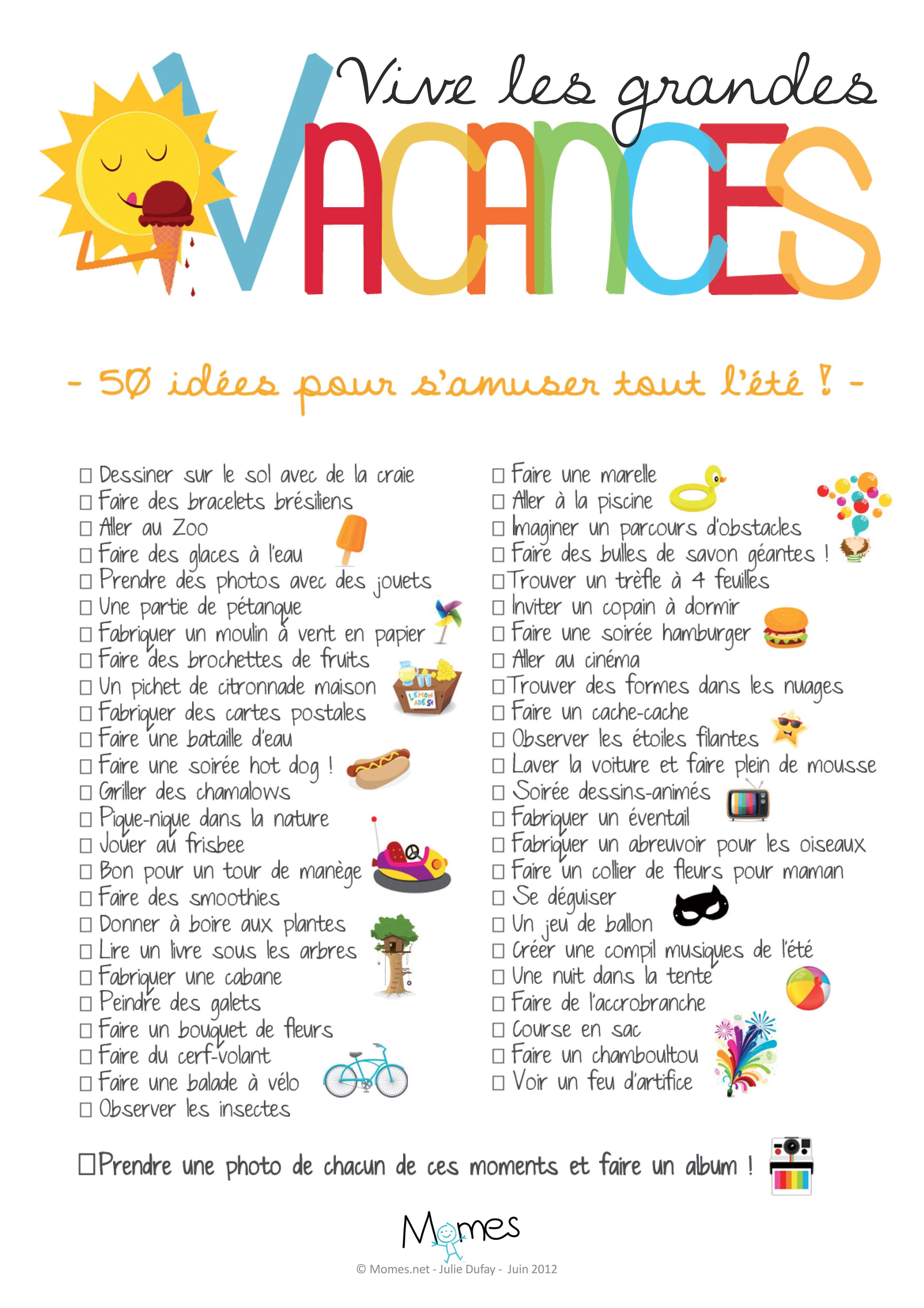 Poster 50 Idees D Activites Pour L Ete Activites Vacances Enfant Vacances