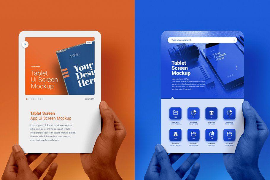 Hand Holding E Reader Mockup Tablet Presentation Mockup
