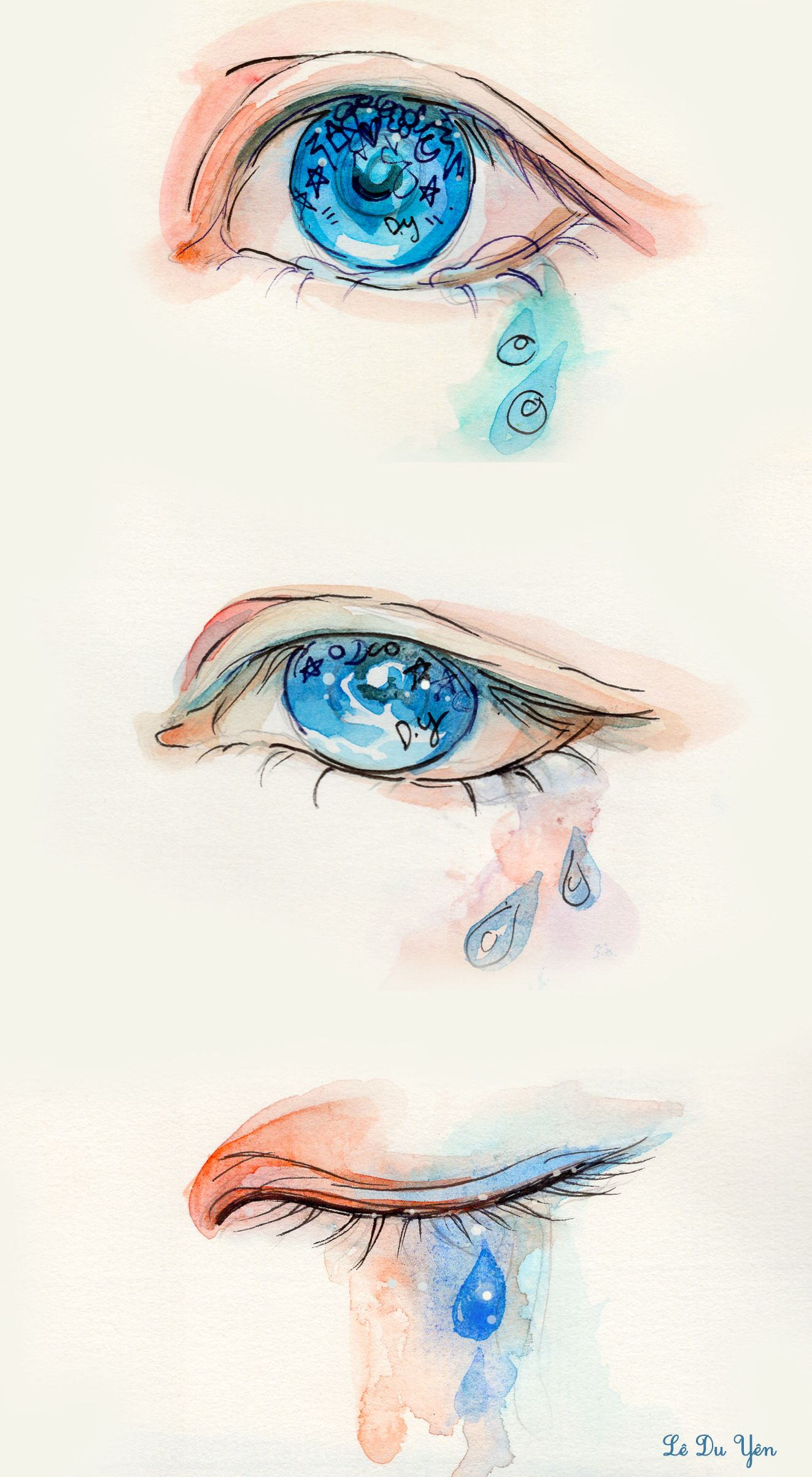 Tears And My Blue Eyes Watercolor Illustration Express Your