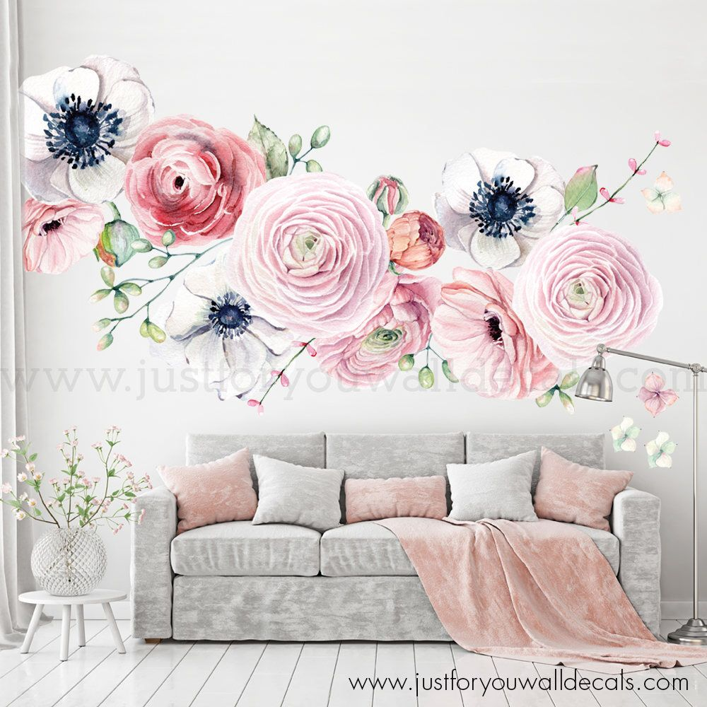 Large Flower Set Flower Wall Decal Floral Wall Decal