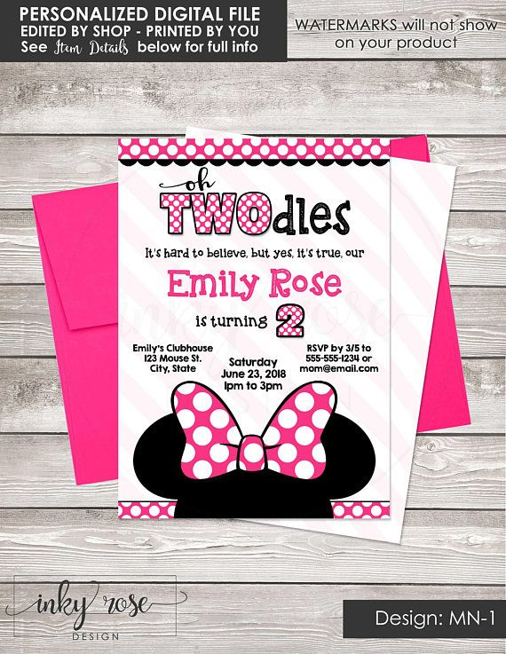 Oh Twodles Invitation Girl Minnie Mouse 2nd Birthday PRINTABLE Pa