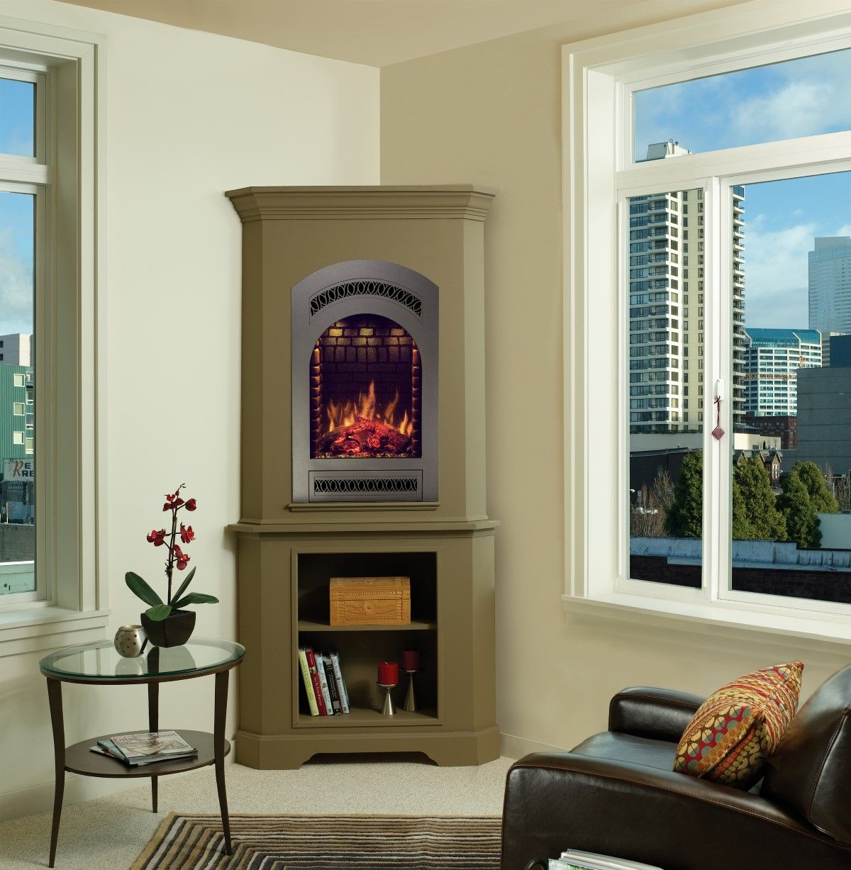 White Corner Electric Fireplace Media Electric White