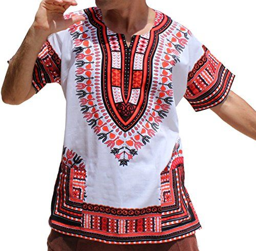 69ed5eade52 RaanPahMuang Brand Unisex Bright African White Dashiki Cotton Shirt  5  Light Red XX-Large