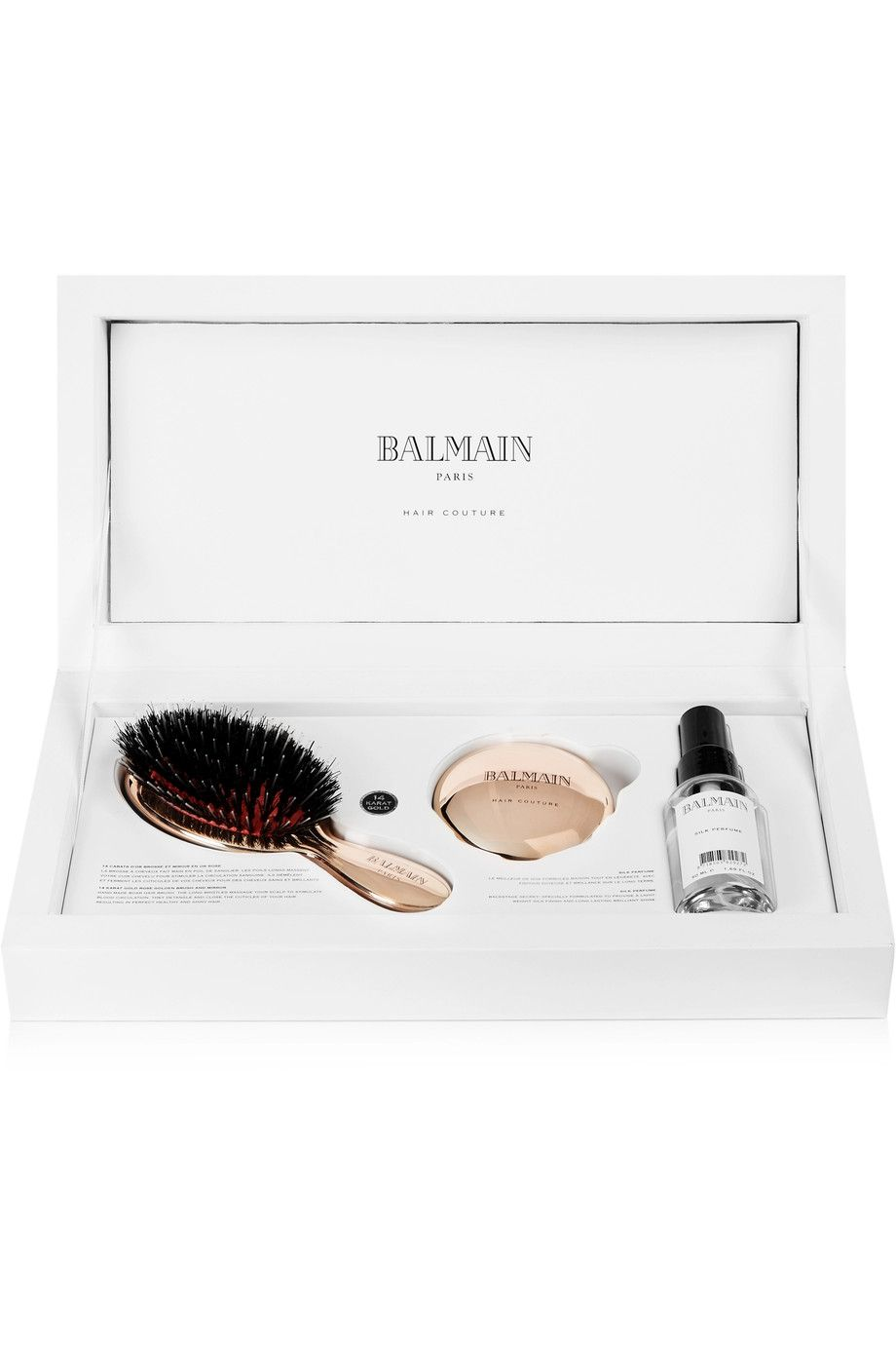 Dore Coffret Coiffure Parfum Miroir Et Mini Brosse Plaques Or Rose Balmain Paris Hair Couture Balmain Paris Balmain Huile D Argan