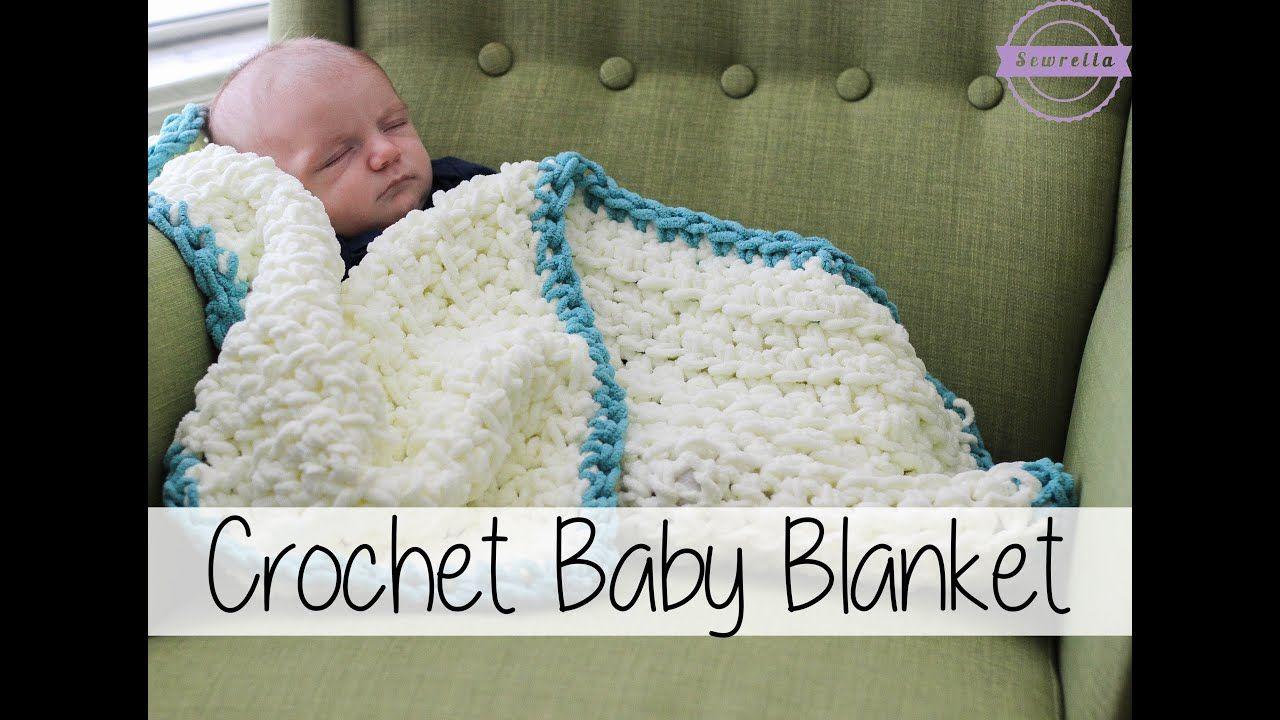Easy Beginner Crochet Baby Blanket Sewrella Youtube Crochet Baby Blanket Beginner Crochet Baby Crochet For Beginners Blanket