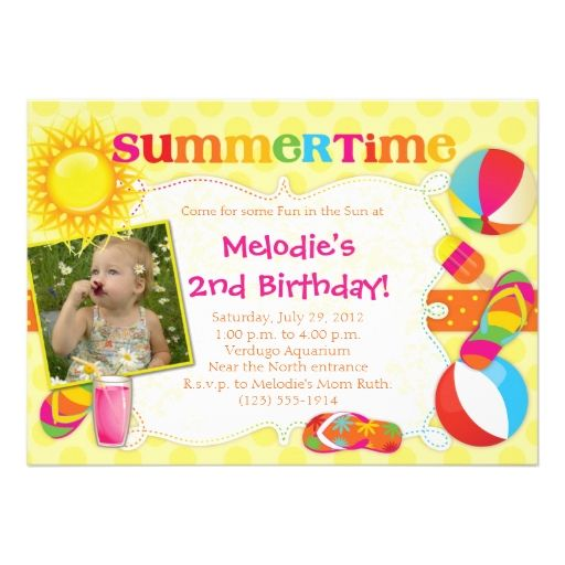 SUMMERTIME - Summer-Themed Party Invitations GIRL Themed parties