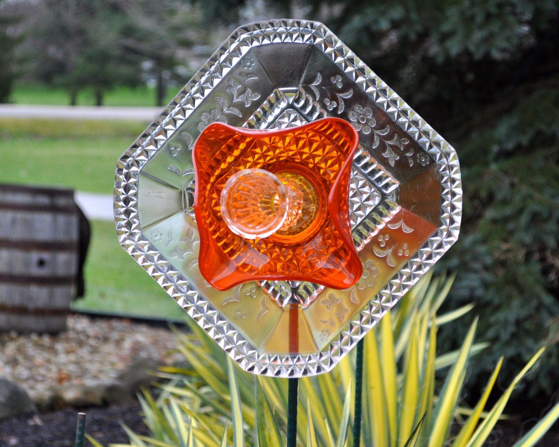 repurposed glass flower sun catcher garden art garden decor