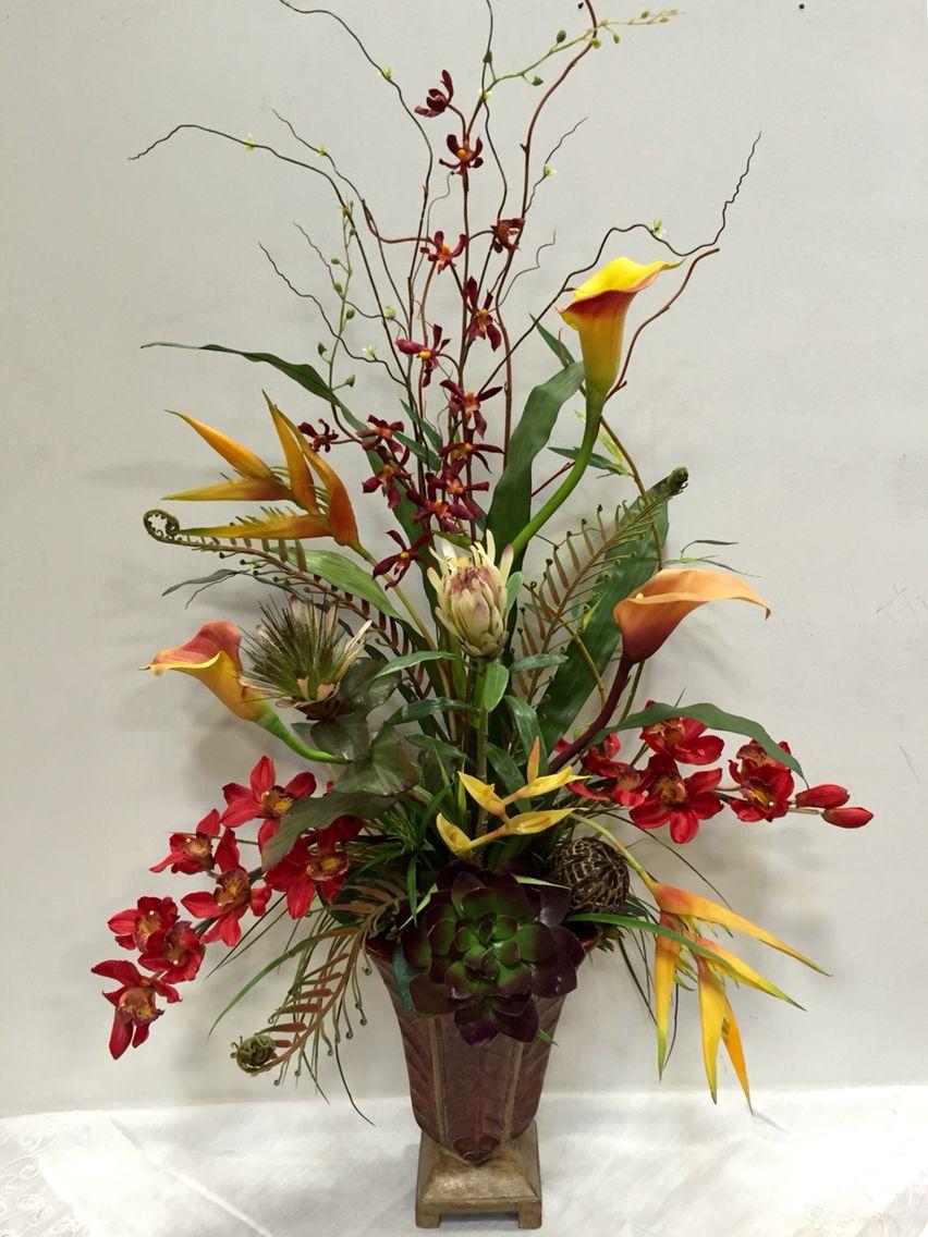 Silk Arrangements For Home Decor Calla And Orchid Floral Arrangement Designed By Arcadia Floral