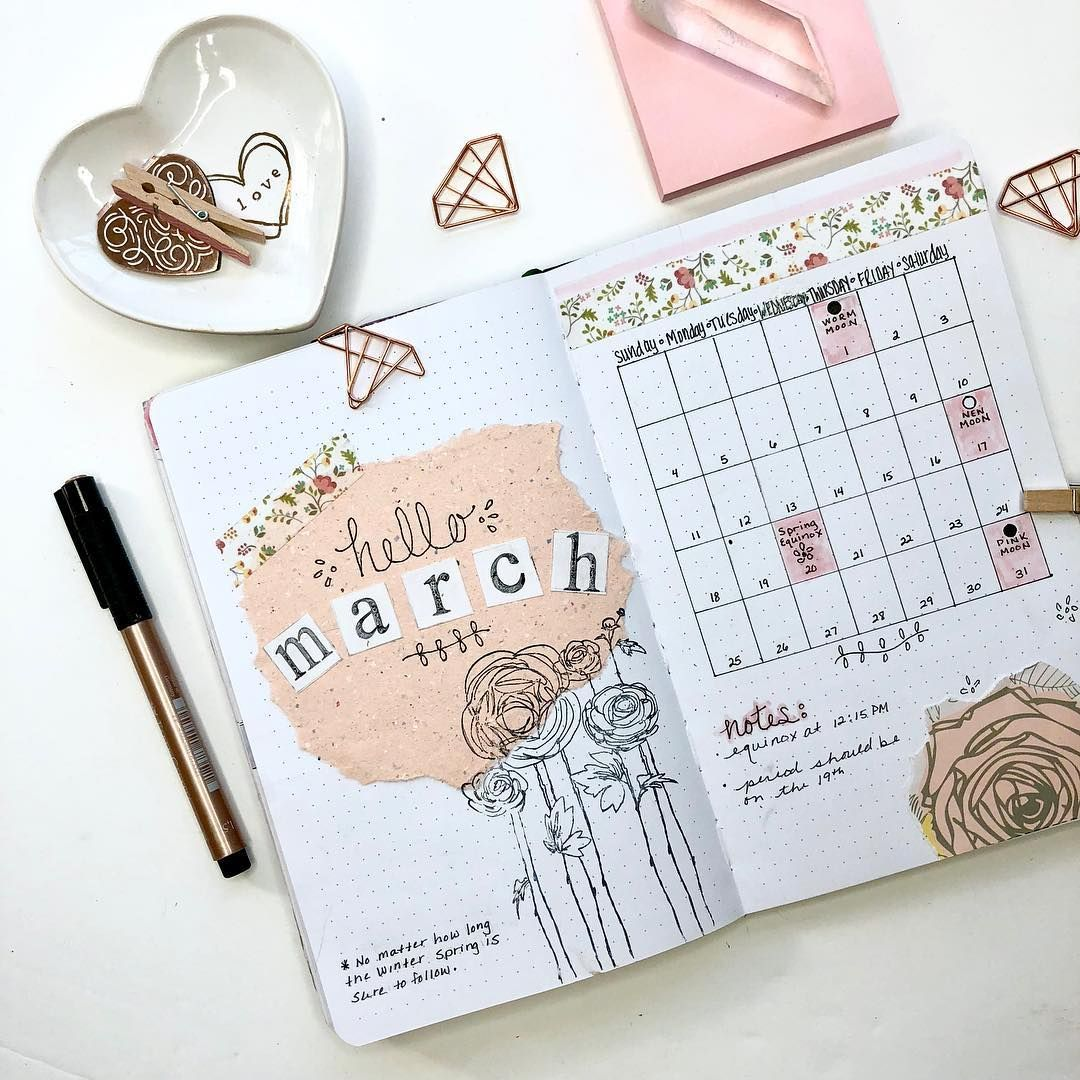 march bullet journal monthly spring theme