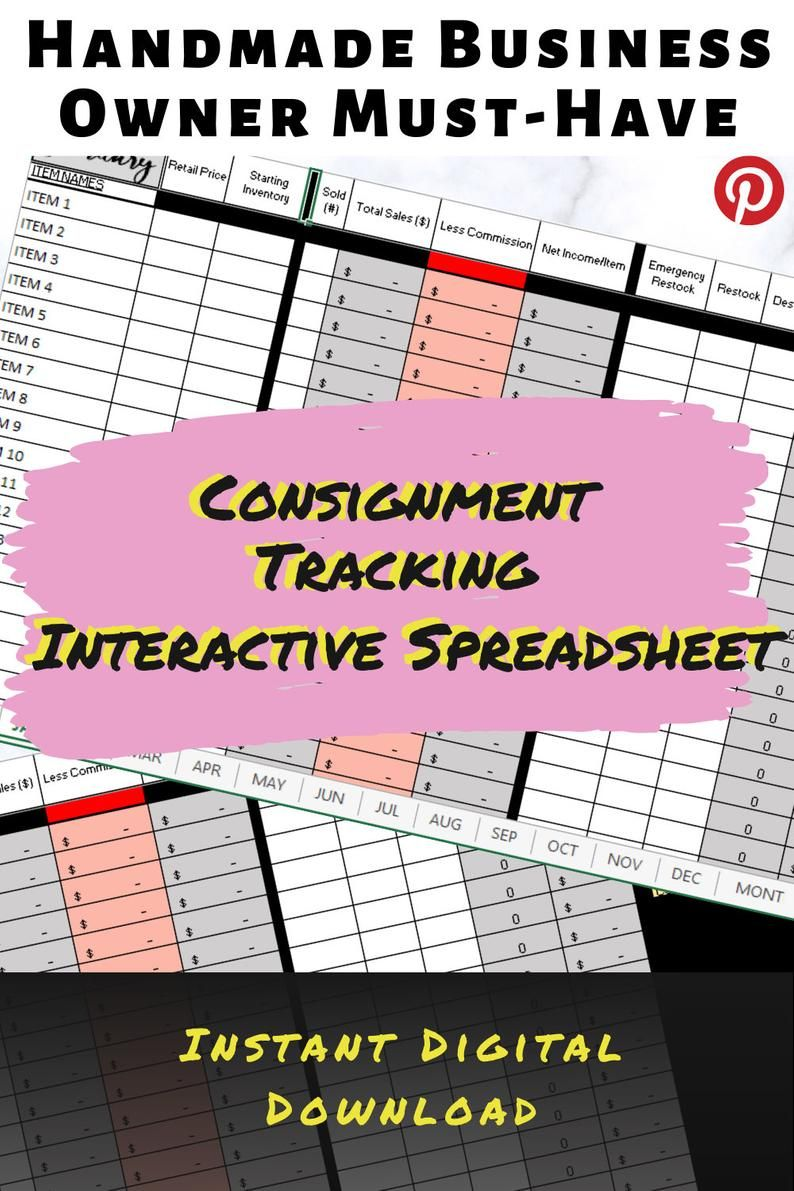 Consignment tracking spreadsheet monthly tracker