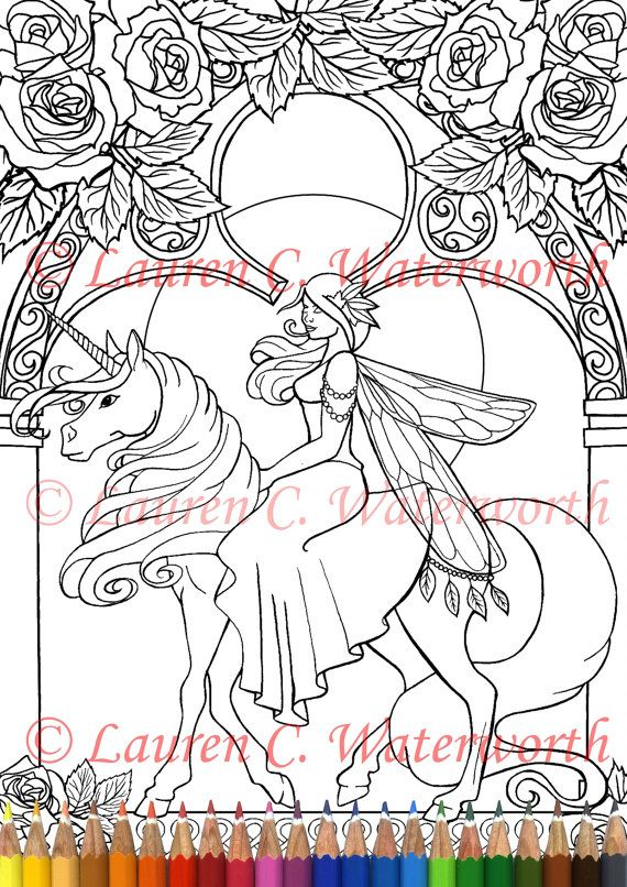Unicorn Fairy Colouring Page Instant Download Printable Faery Fantasy Horse Roses Gothic Amy Brown Style Fairy Coloring Pages Fairy Coloring Coloring Pages