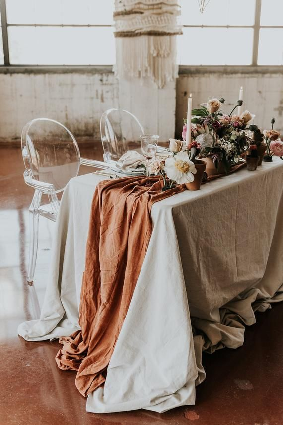 Terracotta Table Runner, Cheesecloth Table Runner, Copper Wedding Decor, Rustic Wedding Decor, Boho Table Decor, table runner Burnt Orange #weddingfall