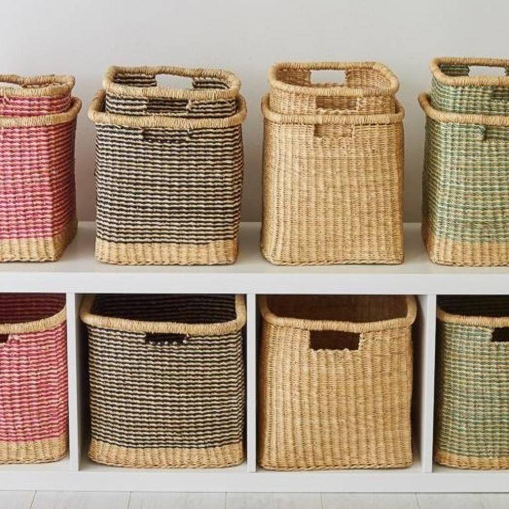 Square Handwoven Storage Baskets Wicker Baskets Storage Woven Baskets Storage Storage Baskets Wicker storage baskets for shelves