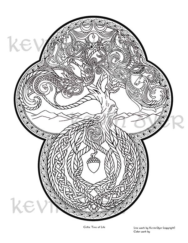 Celtic Tree of Life Celtic Fantasy Coloring Pages | Tattoo ...
