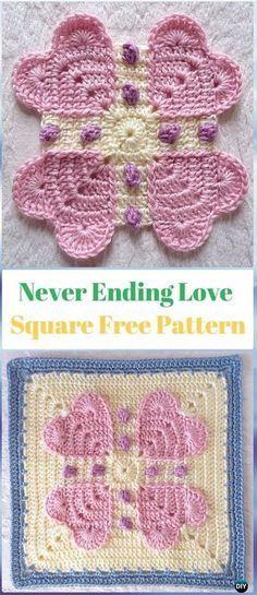 Crochet Heart Granny Square Free Patterns & Tutorials | Häkeln ...