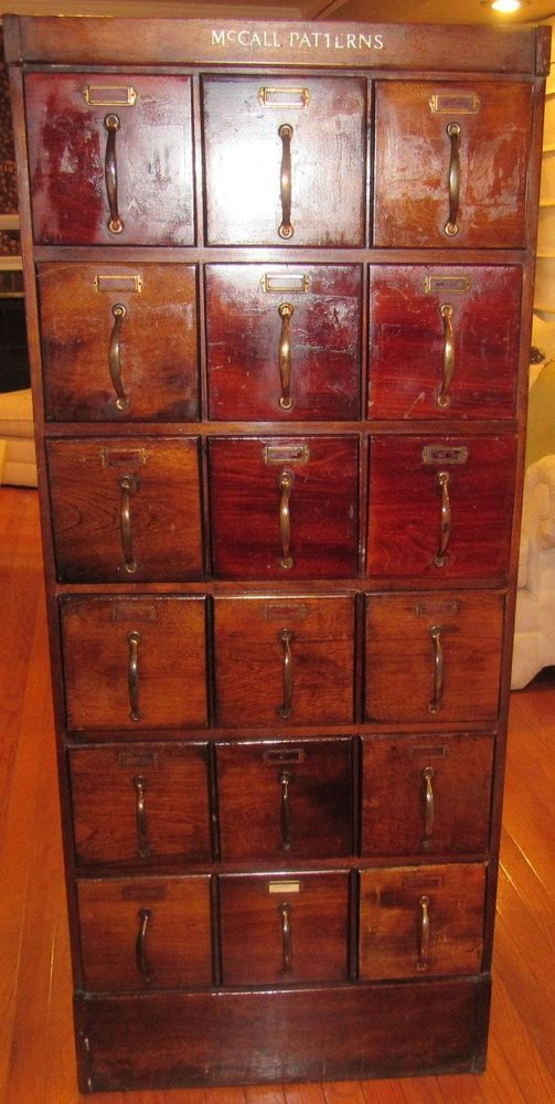 Antique beautiful rare 18 drawer mccall\'s all wood pattern cabinet ...