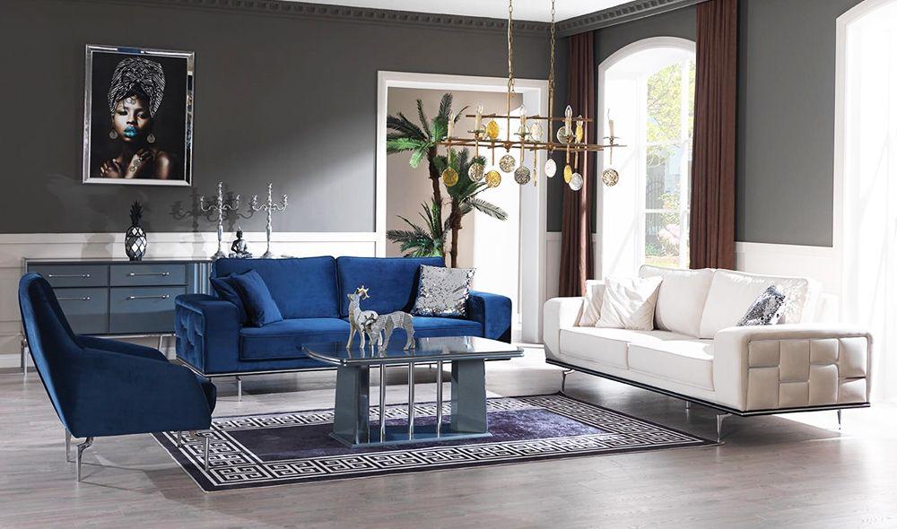 arya silver salon takimi mobilya modern mavi salon