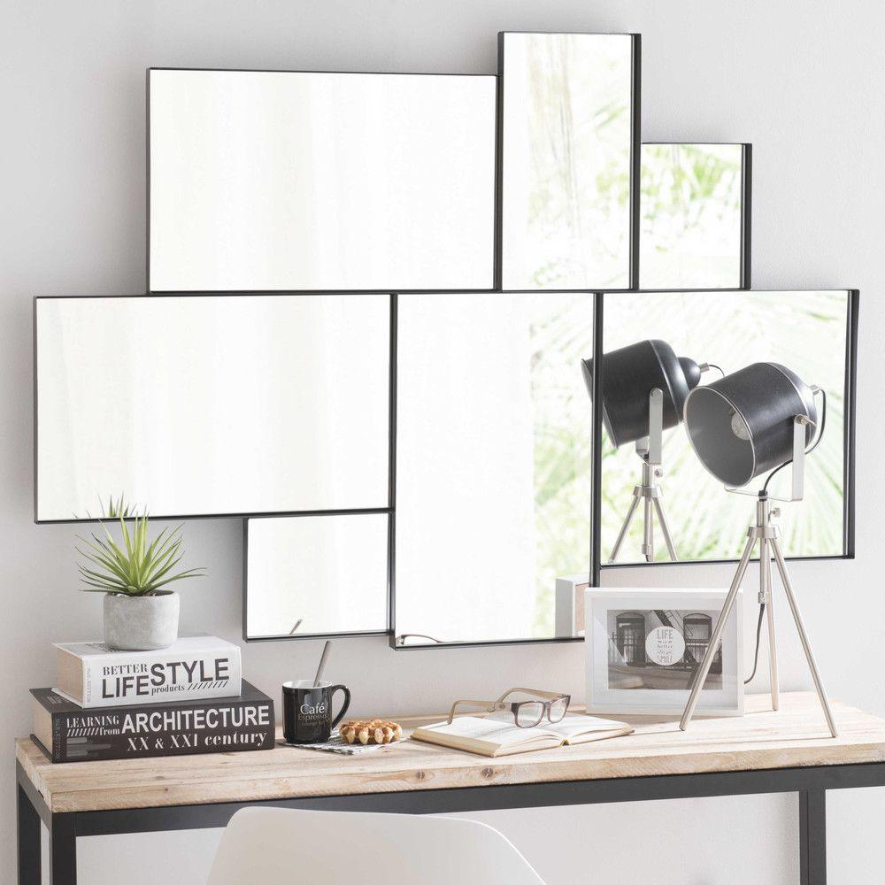 miroir en m tal noir h 123 cm m tal noir miroirs et noir. Black Bedroom Furniture Sets. Home Design Ideas