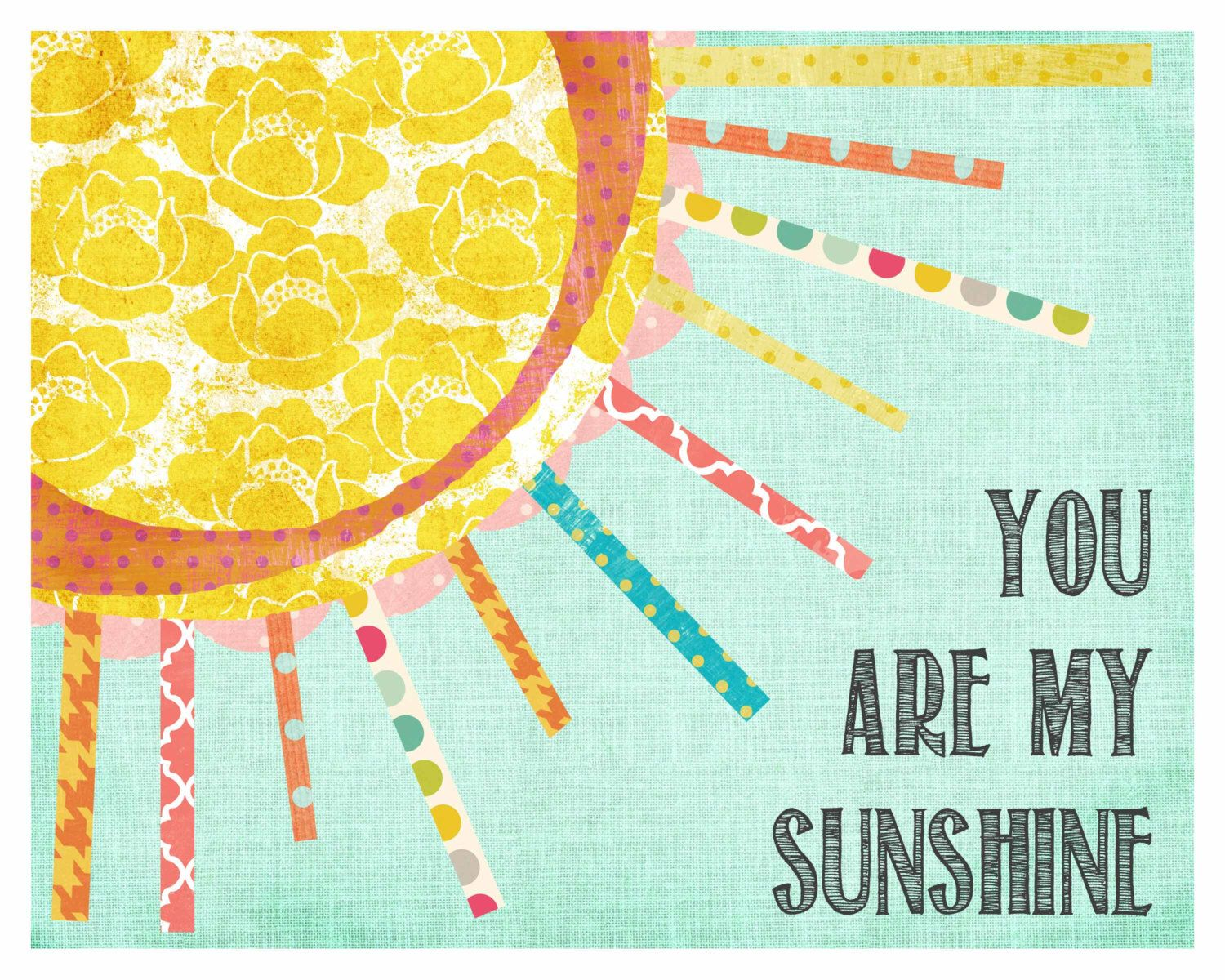 You are My Sunshine, Wall Art, Chidren\'s Wall Decor, Girl Nursery ...