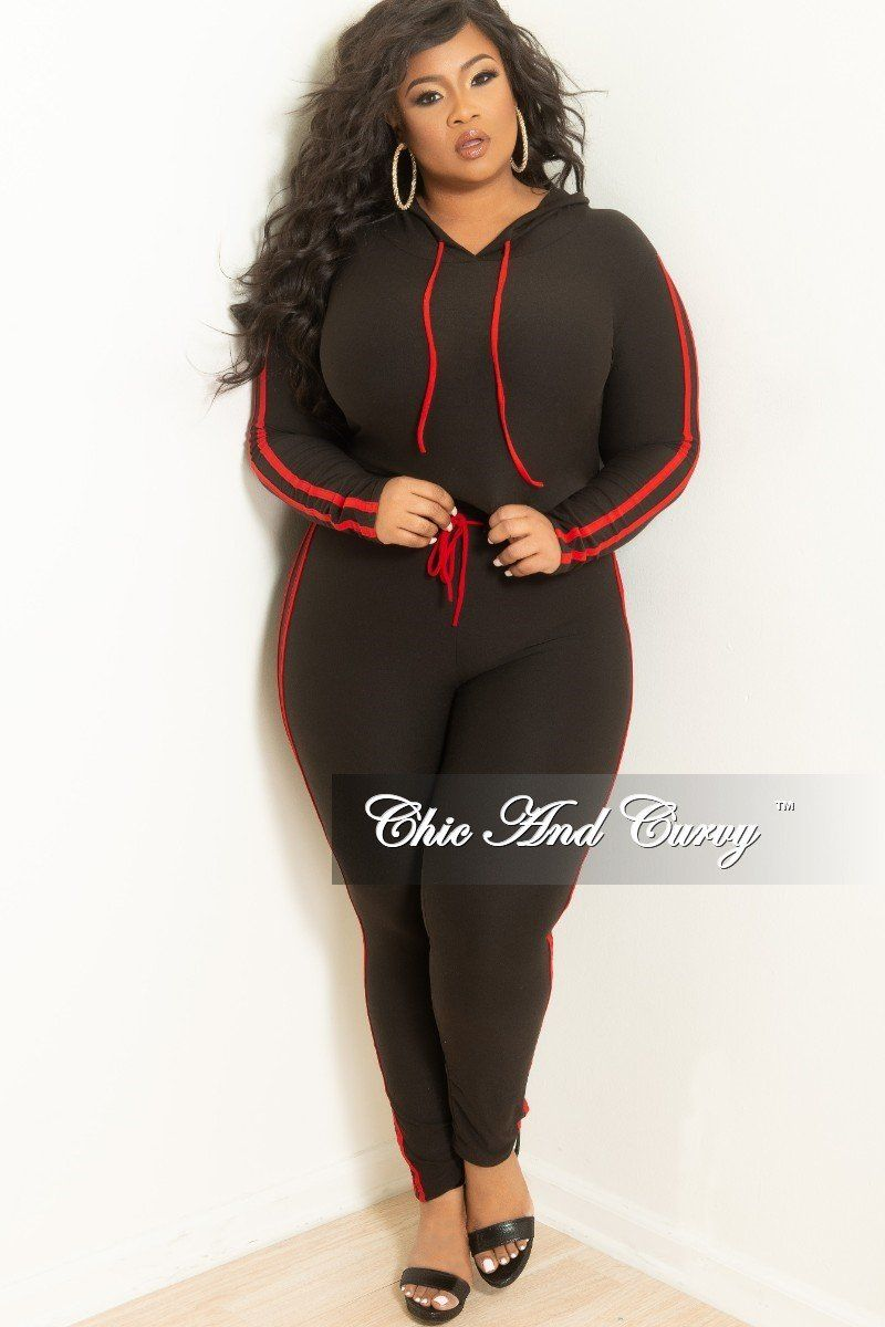 af2a5285f Plus Size 2-Piece Hooded Crop Top and Pants Set in Black with Red – Chic  And Curvy