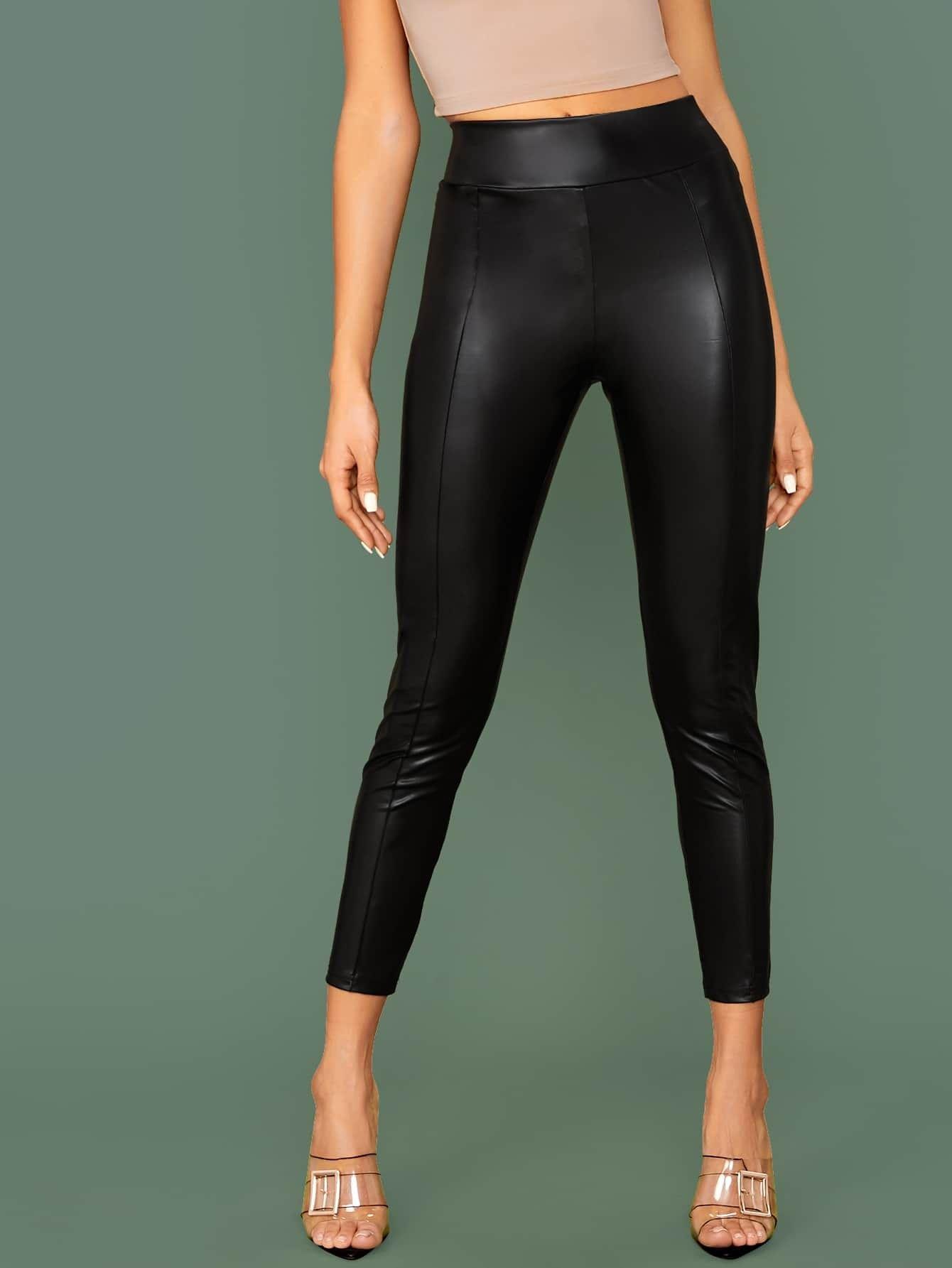 Pantalon Negro Tipo Cuero Off 53