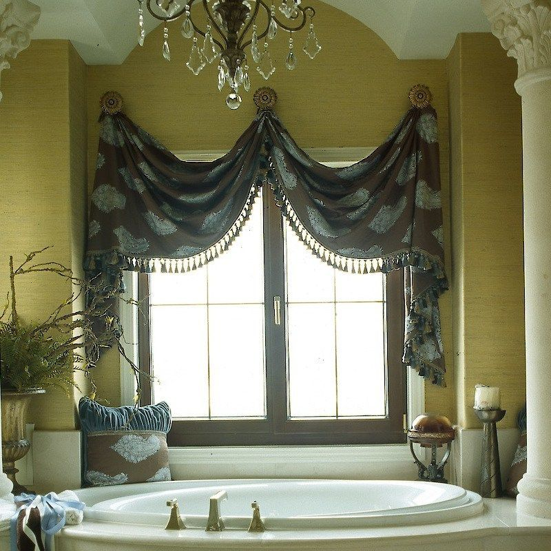 Blue And Brown Valances And Shades 12 Ideas Explained In Detail Bathroom Window Treatments Cheap Window Treatments Bathroom Window Curtains